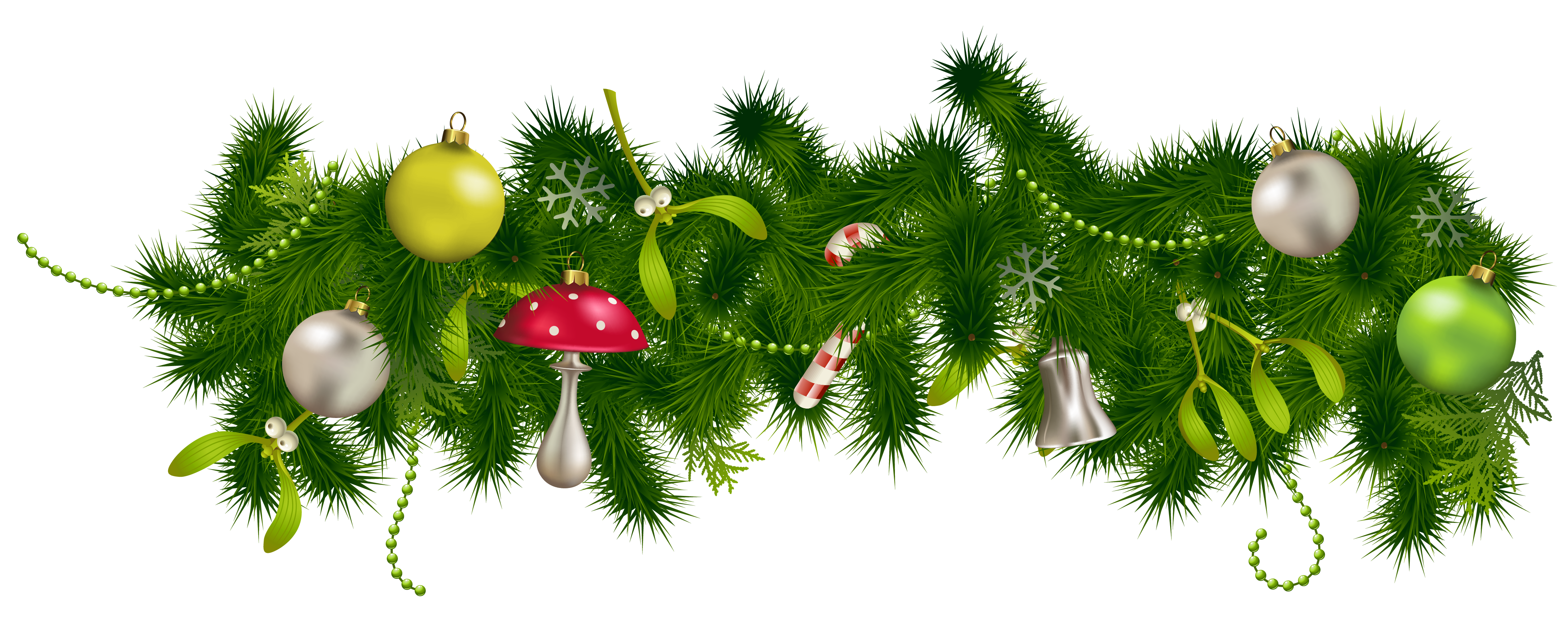 Green garland christmas ornaments png. Download free transparent image