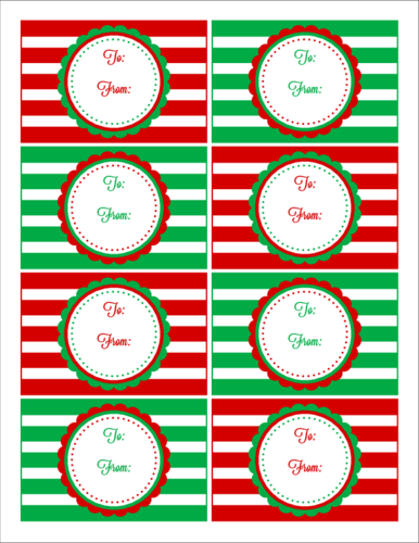 Holiday name tags png. Red green striped christmas