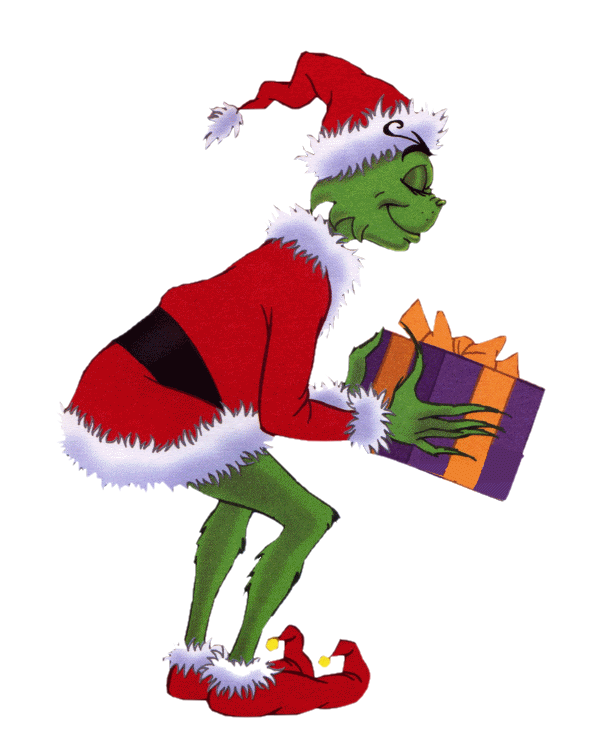 Grinch png transparent background. The holding a gift