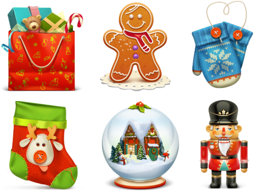 Christmas icon png. Set quality icons times