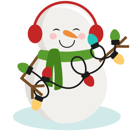 Cute snowman png. With christmas lights svg