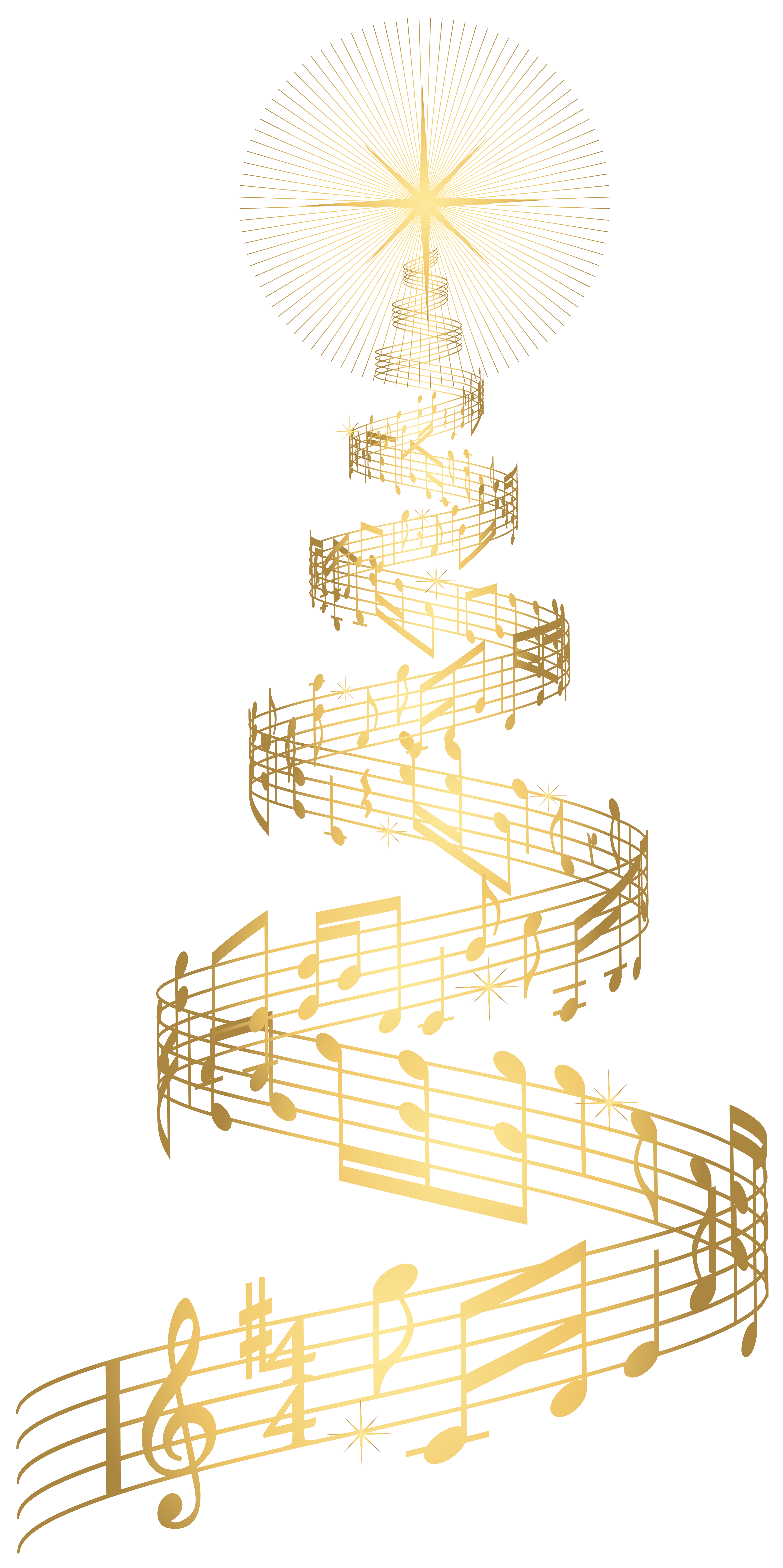 Christmas music png. Golden tree transparent clip