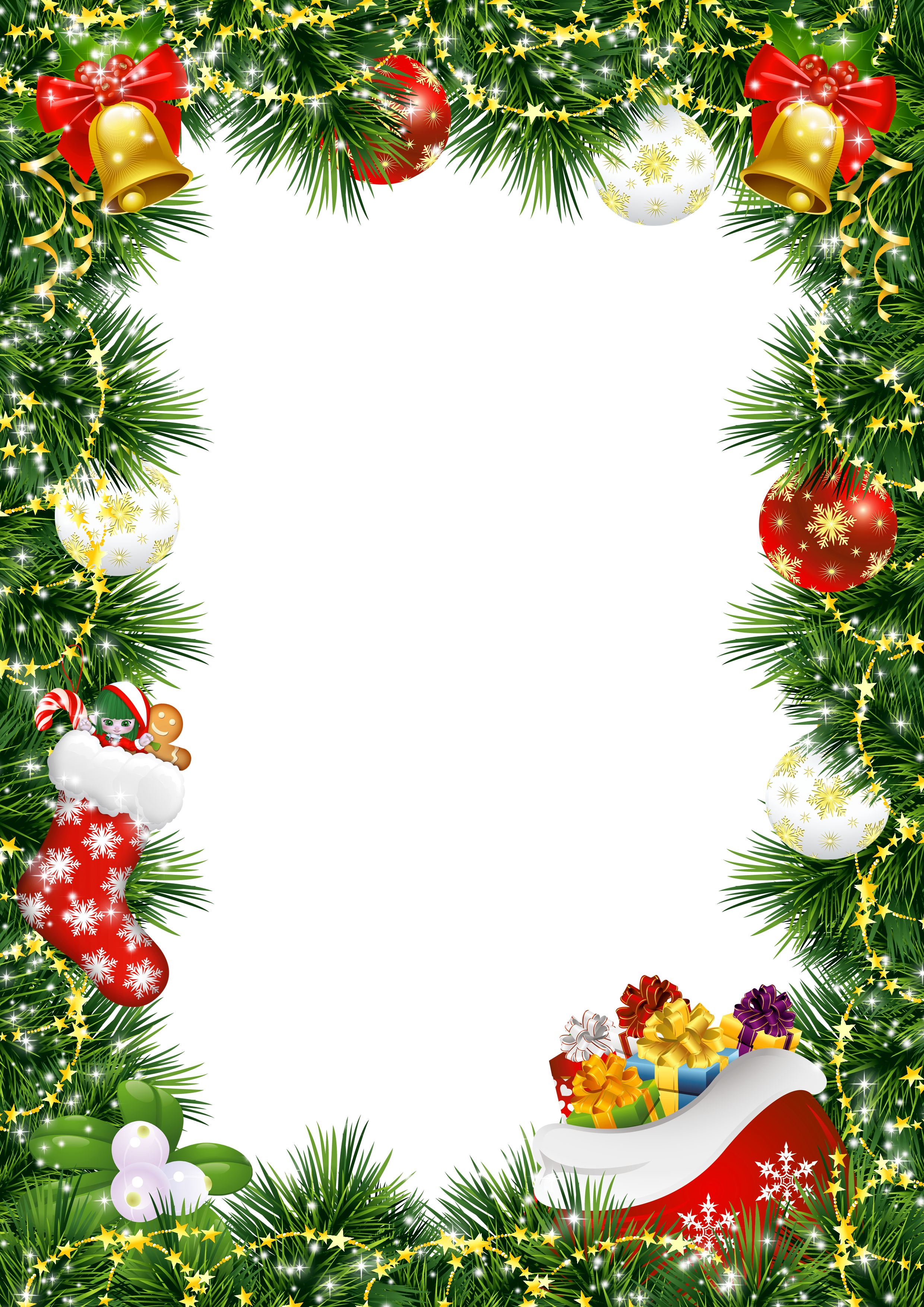 Christmas ornament border png. Photo frame with ornaments