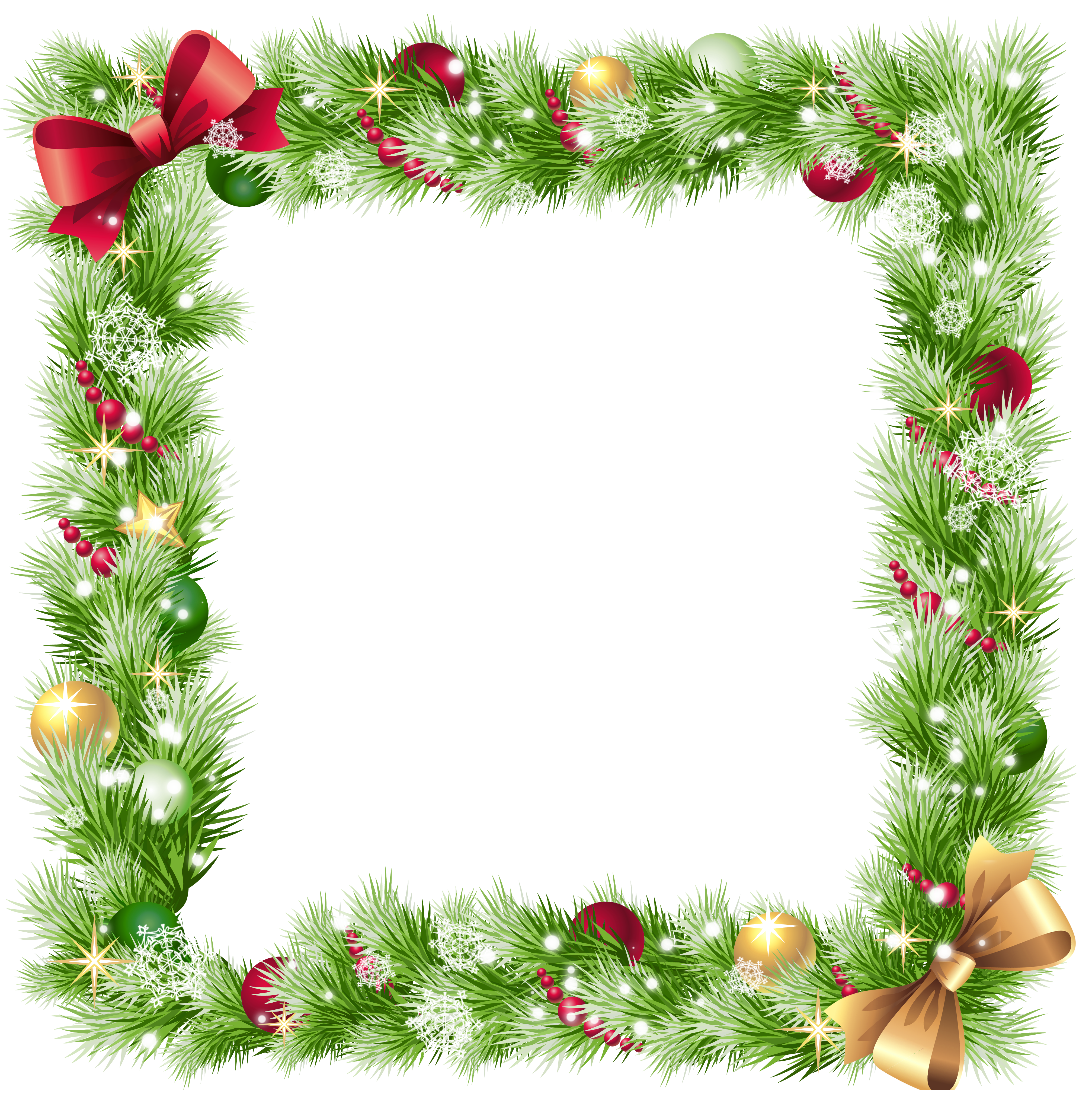 Christmas frames and borders png. Frame with ornaments snowflakes