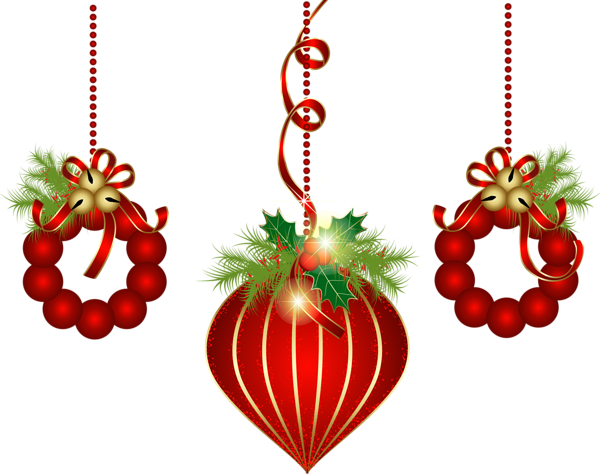 Christmas ornaments clip art png. Transparent red clipart gallery