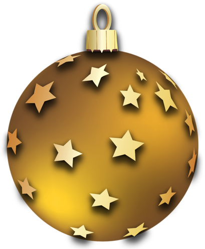 Christmas ornaments clip art png transparent. Gold ball with stars