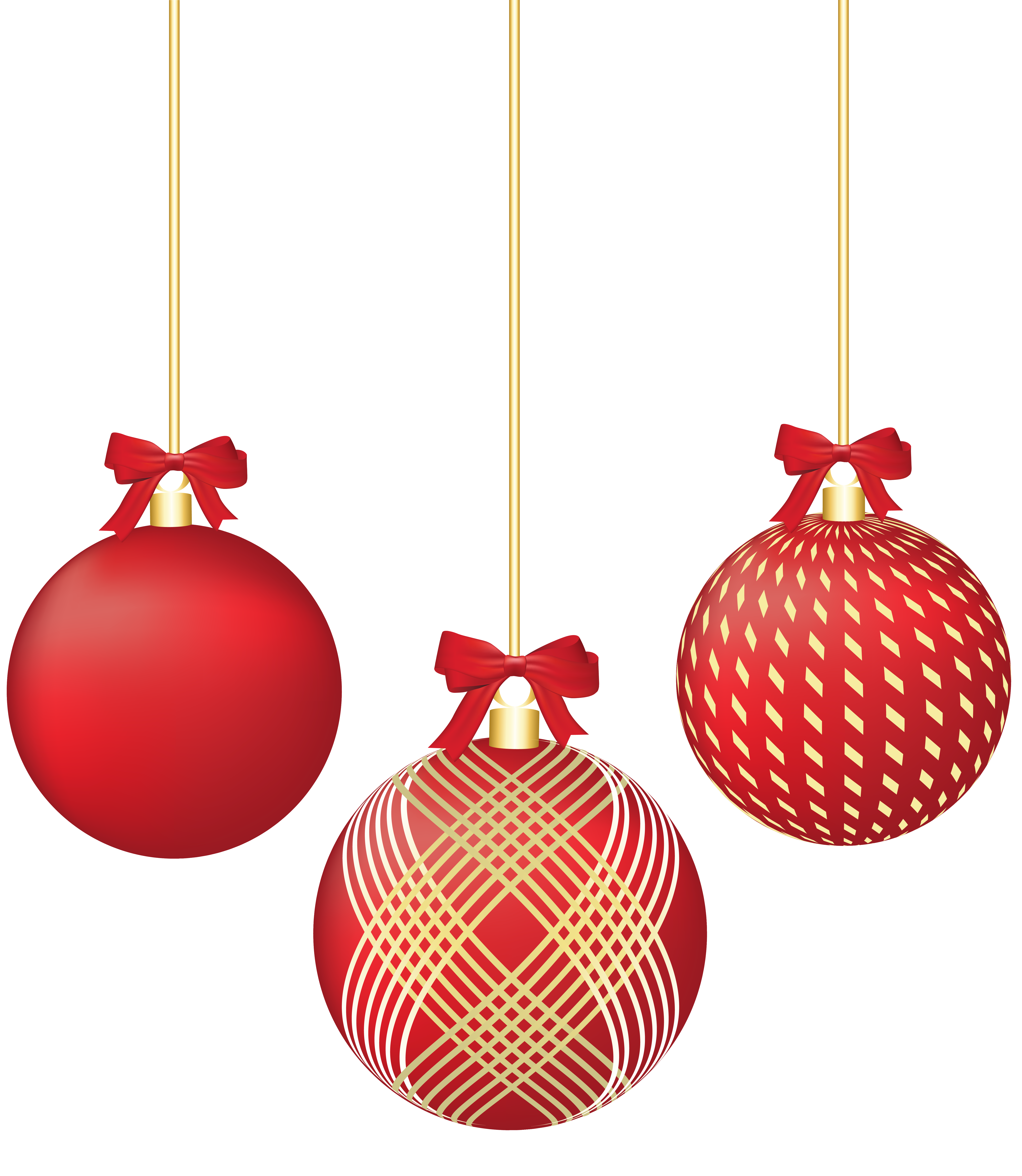 Red ornaments png. Christmas clip art image