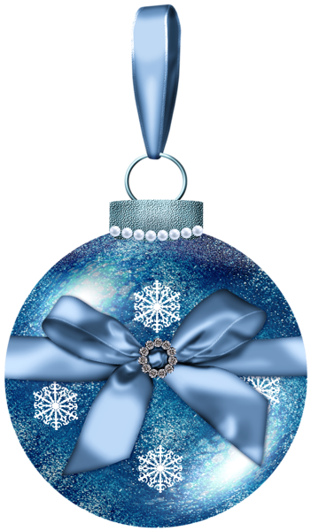 Christmas ornaments png blue and gray. Ball with bow picture