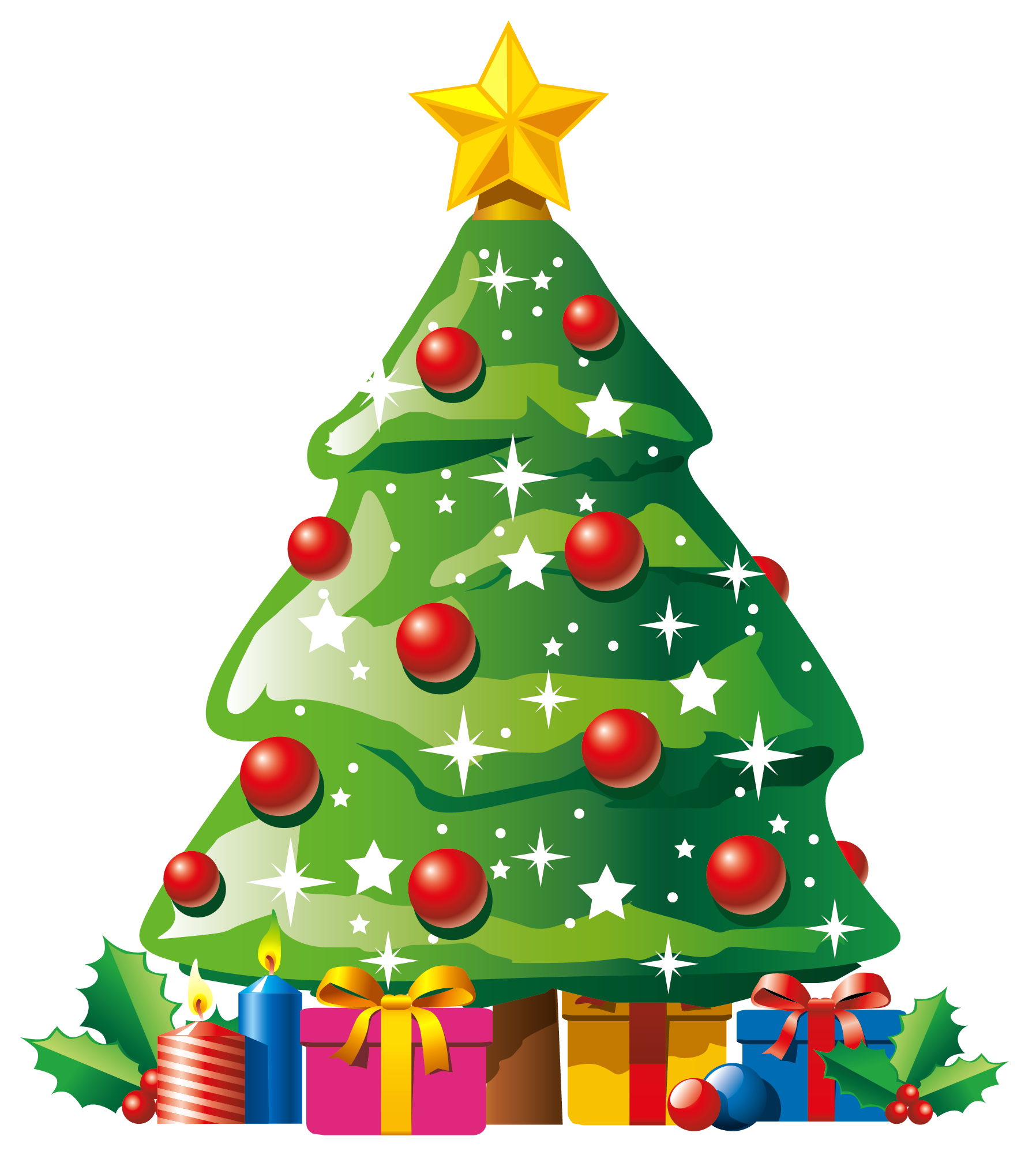 Christmas ornaments shadow png. Transparent deco tree with