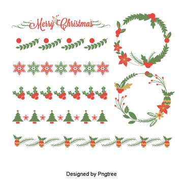 Calligraphy vector divider. Christmas pattern png vectors