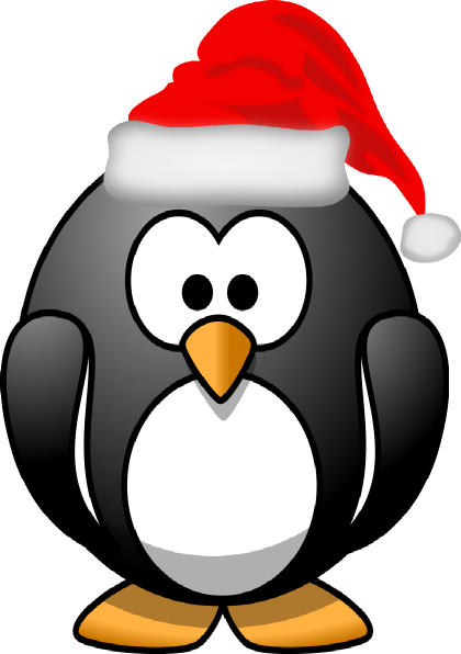Christmas penguin png. Clipart black and white