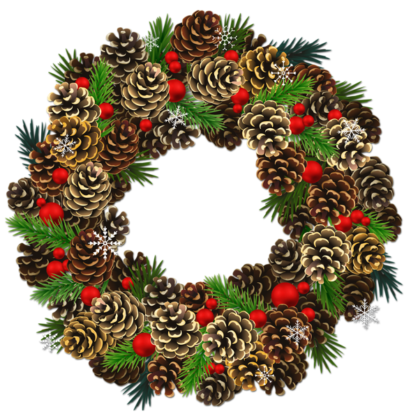 Christmas pine cone png. Transparent pinecone wreath clipart