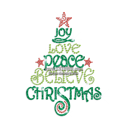 Christmas png peace love joy ornaments. Believe iron on glitter