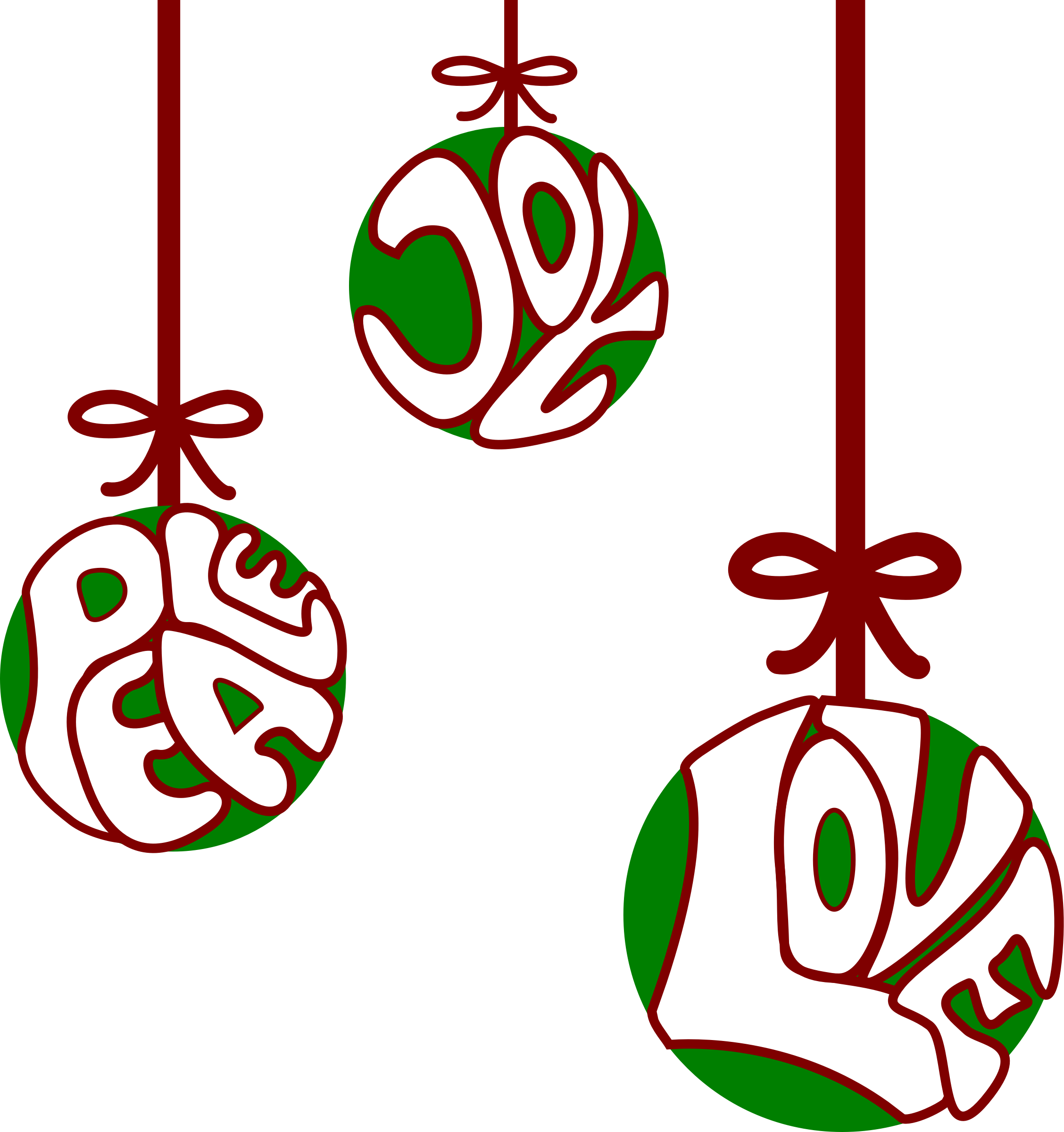 Christmas png peace love joy ornaments. Clipart big image