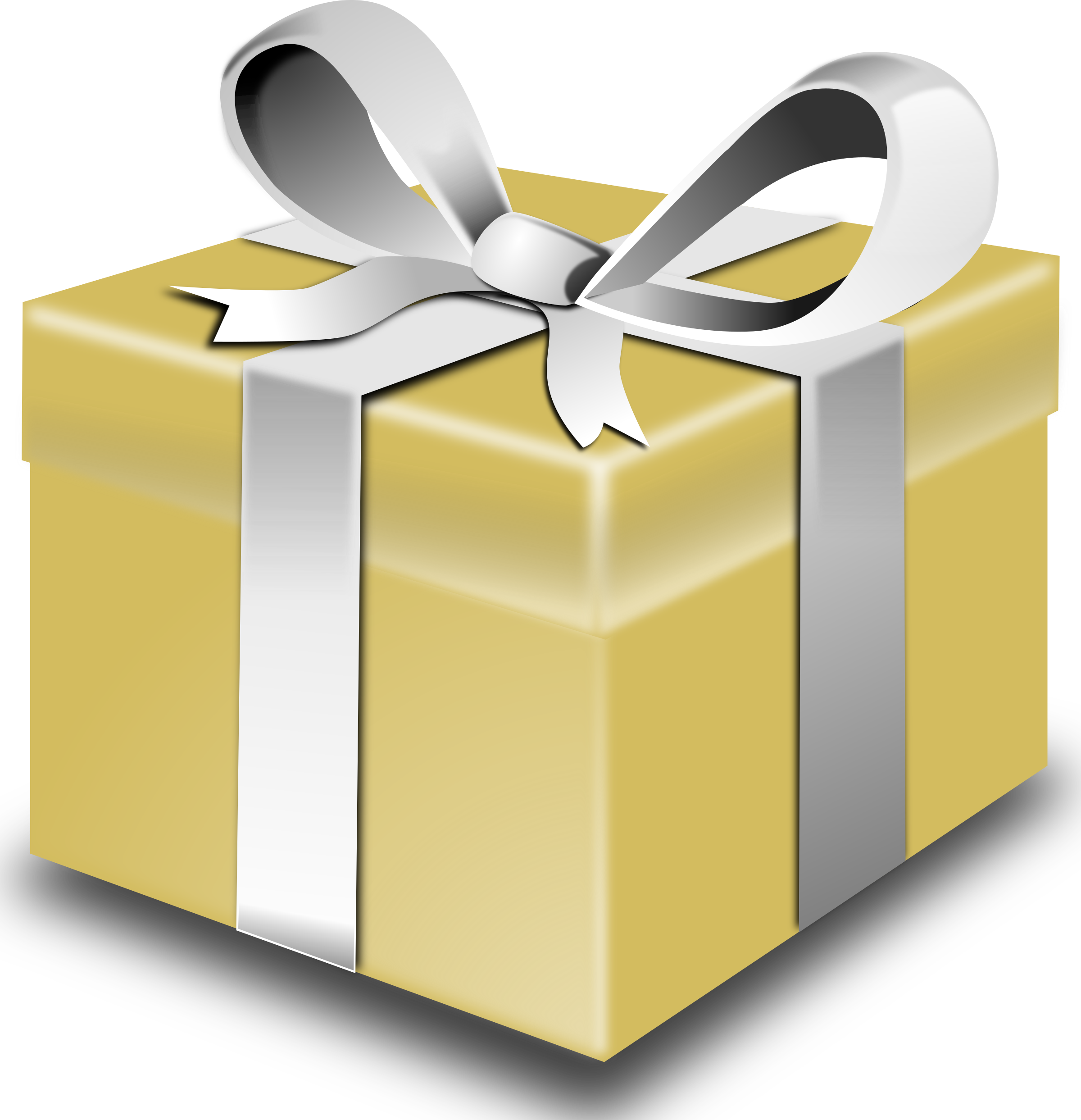 Vector present kid gift. Clipart gold