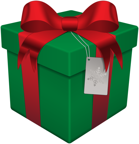 Transparent present box. Christmas gift green png