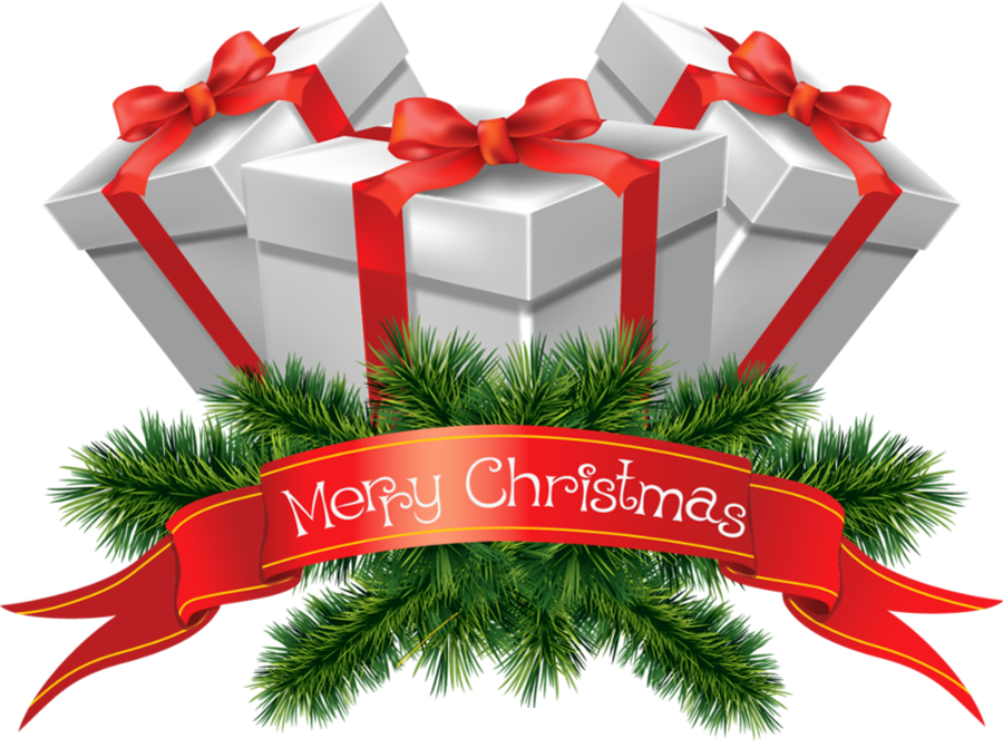 Xmas presents png. Transparent merry christmas clipart