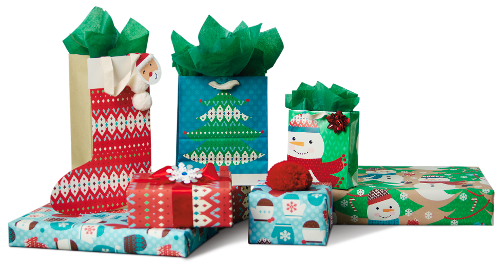 Holiday presents png. Packing gifts download image