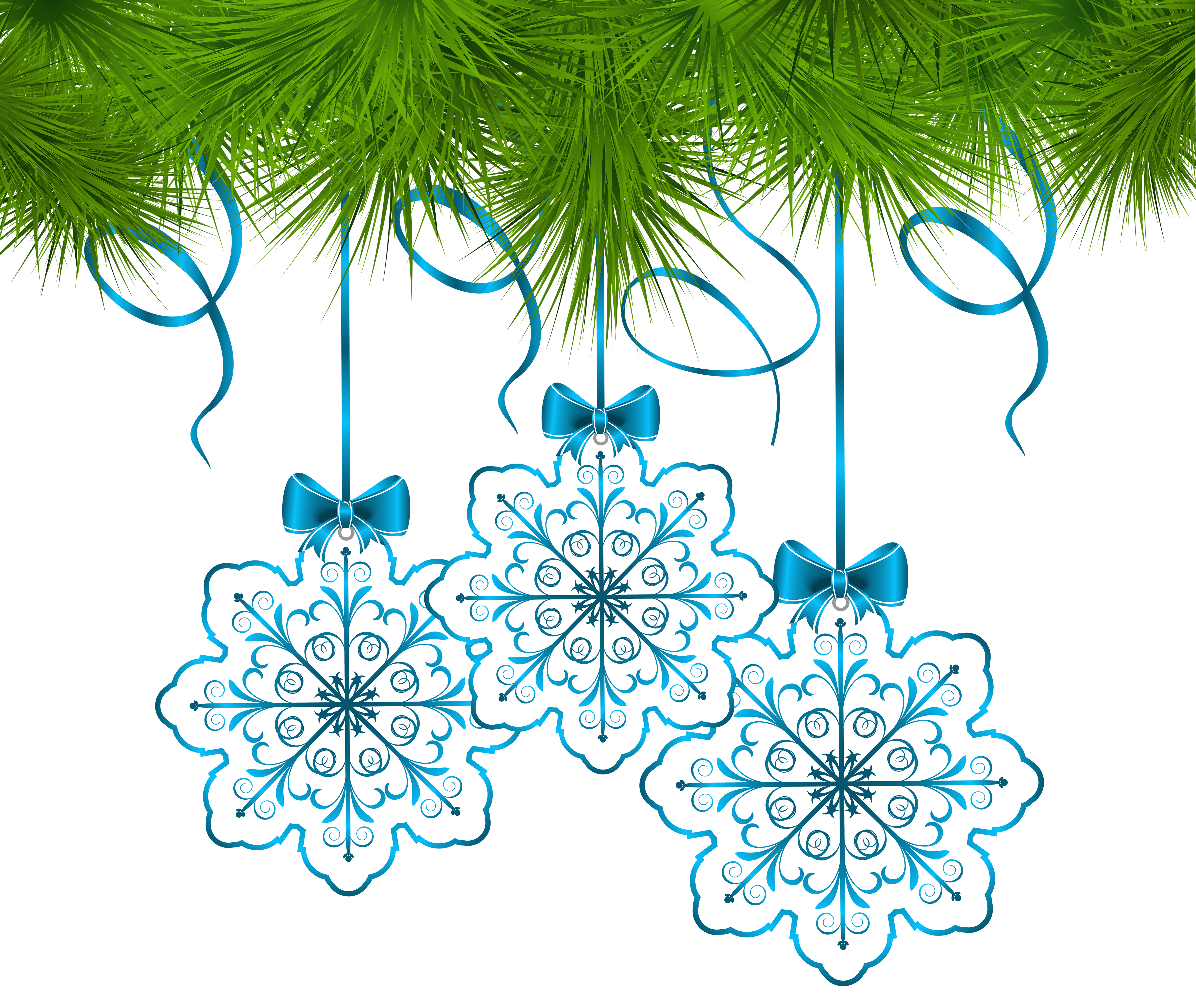 Christmas snowflakes png. Pine decor with ornaments