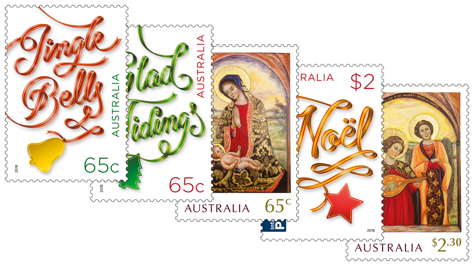 Australia post set of. Christmas stamp png clipart library download