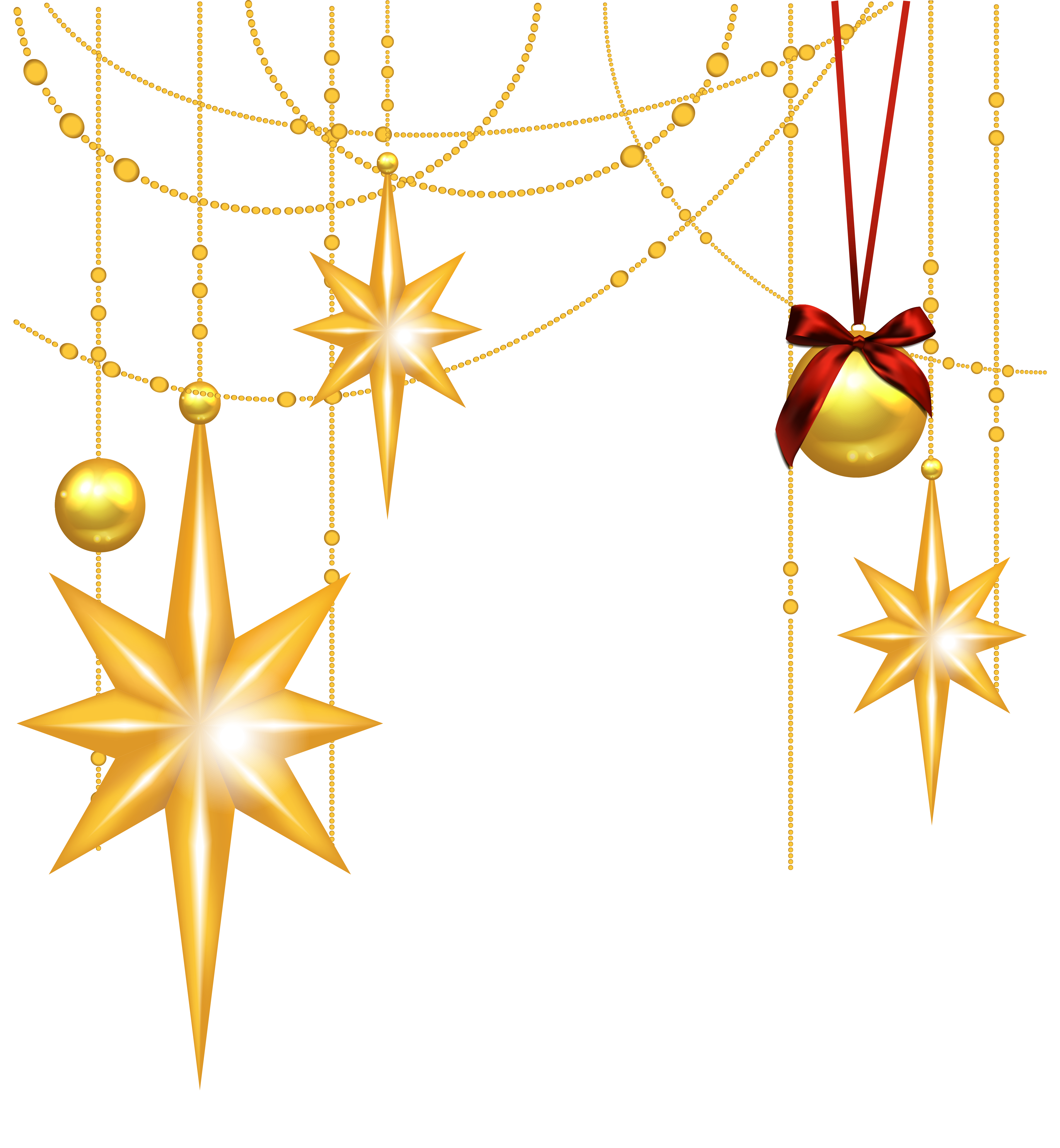 Christmas star png transparent background. Gold stars and ornament