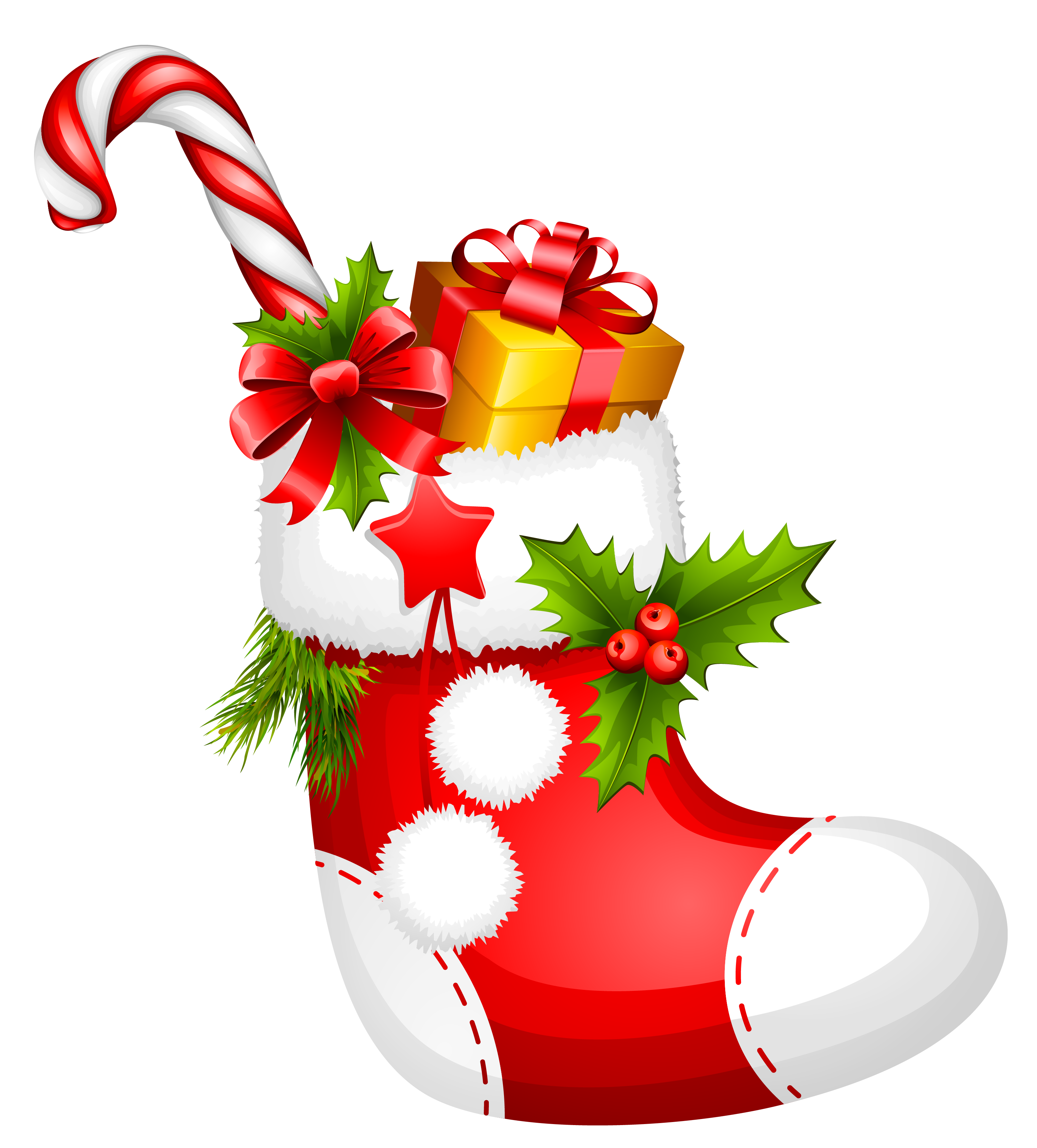 Christmas stockings png. Stocking with candy cane