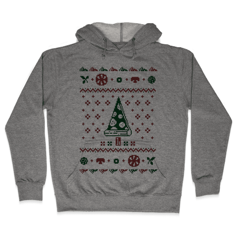 Christmas sweater png. Ugly pizza hoodie lookhuman