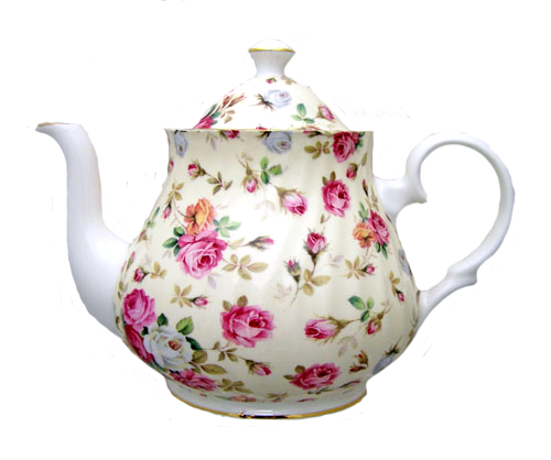 Teapot with flowers png. Heirloom antique rose bone