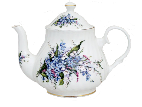 Teapot with flowers png. Forget me not bone