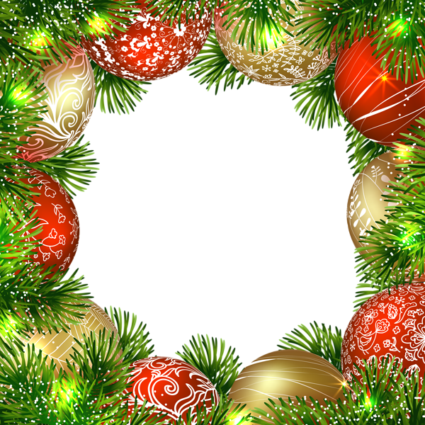 Christmas top border png. Transparent frame with ornaments