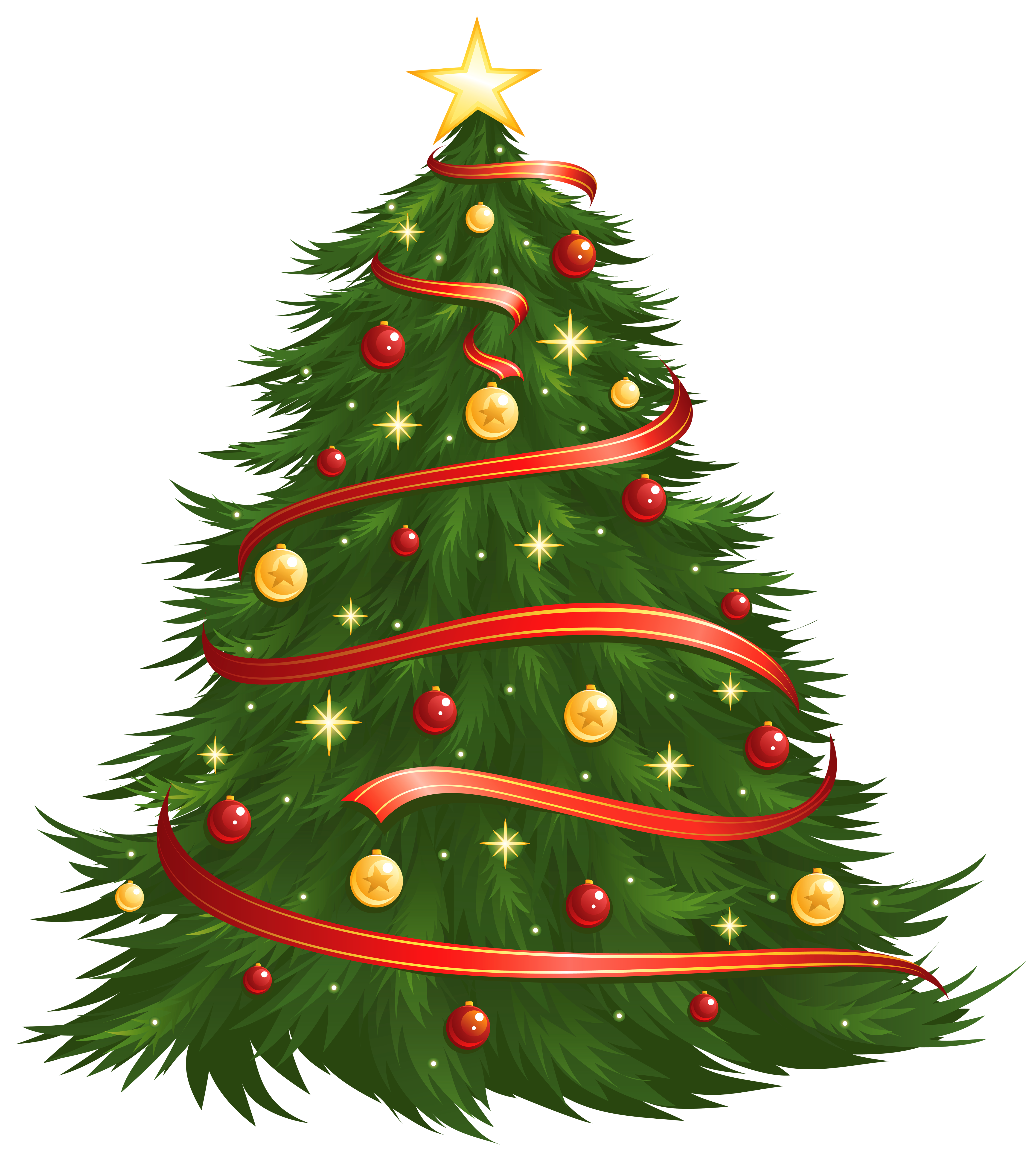 Christmas tree clip art png. Large size transparent decorated