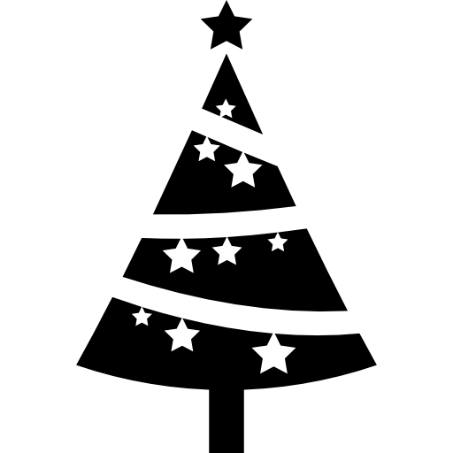 Christmas tree icon png. Ornamented with stars free