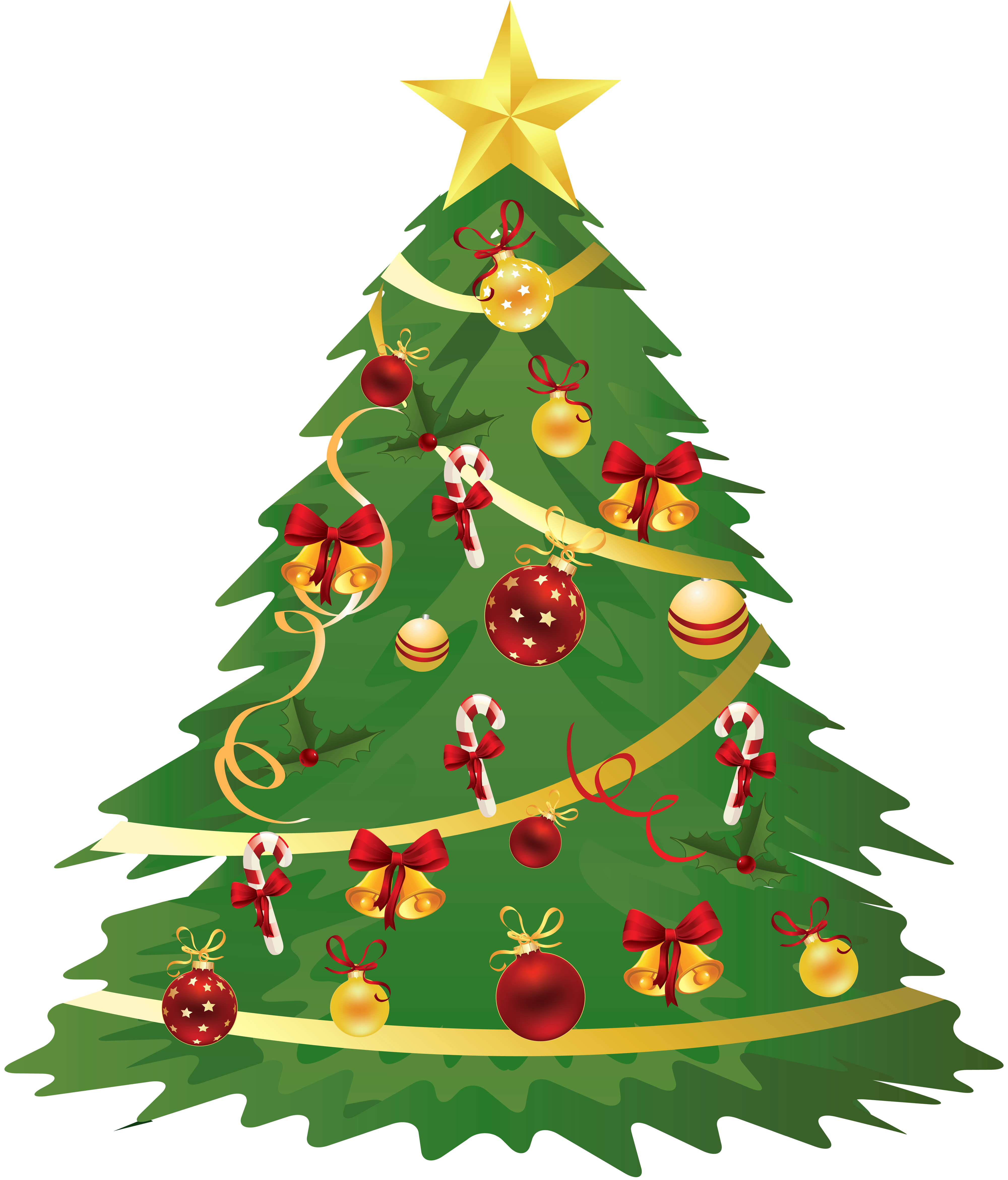 Christmas tree transparent background png. Large with ornaments and