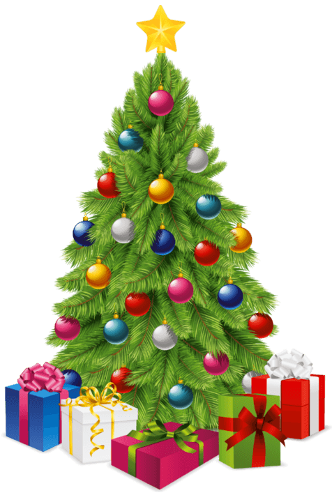 Christmas tree transparent png. Gifts stickpng