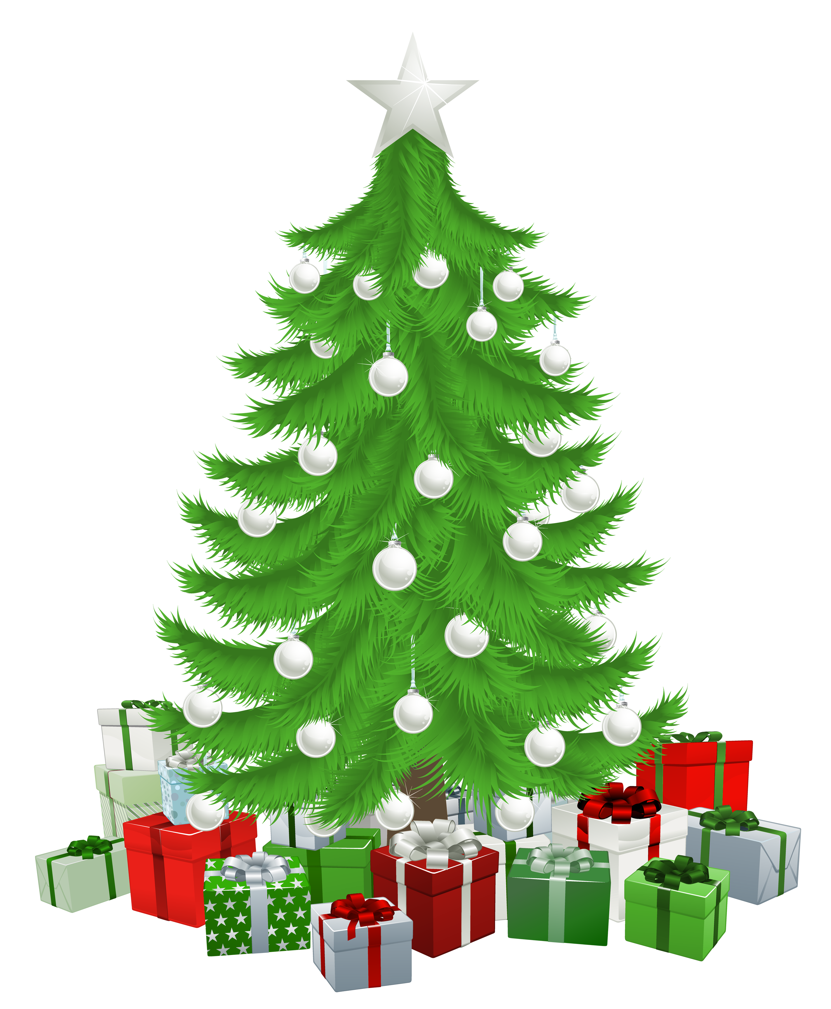 Christmas tree with presents png. Transparent clipart picture gallery