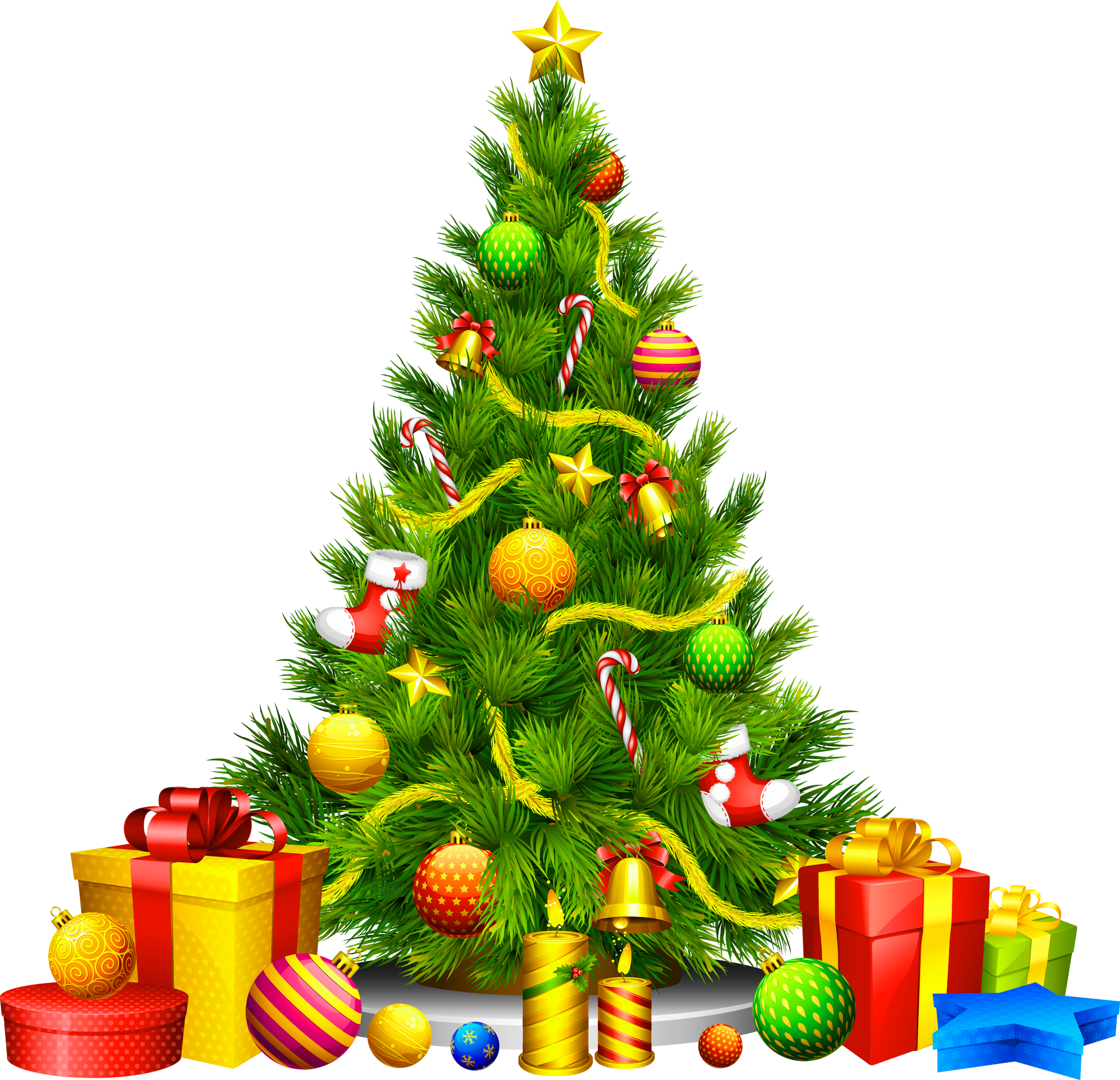 Christmas tree with presents png. Large transparent clipart gallery