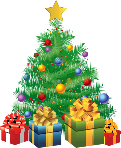 Christmas tree with presents png. Transparent green gifts picture