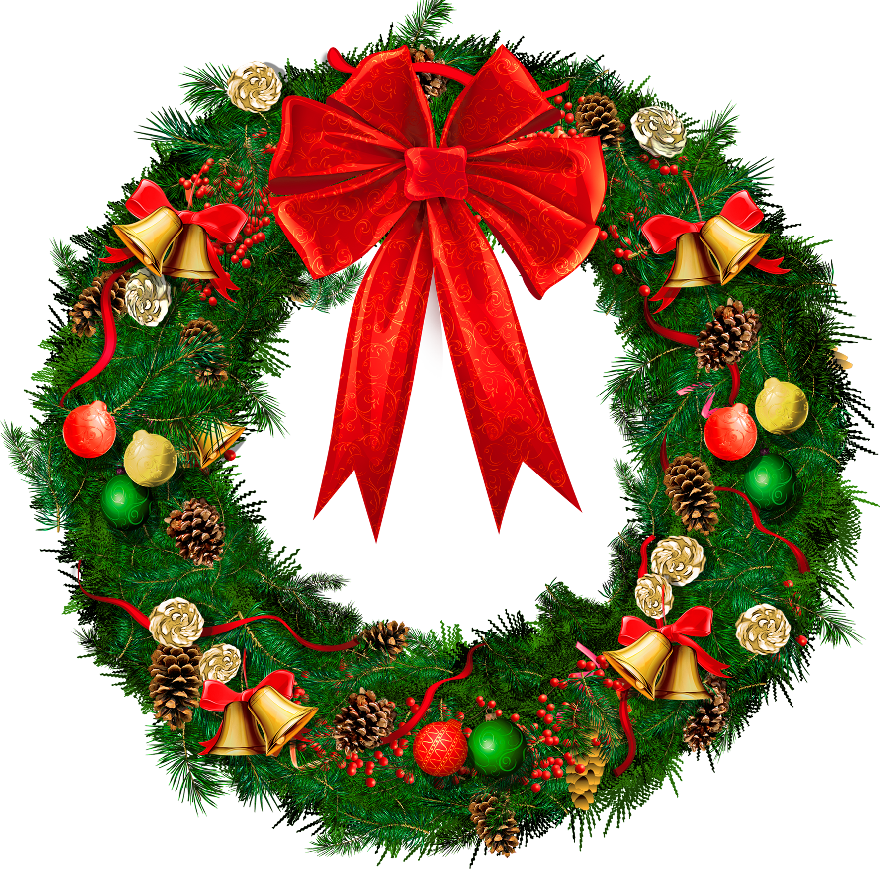 Christmas wreath border png. Transparent with red bow