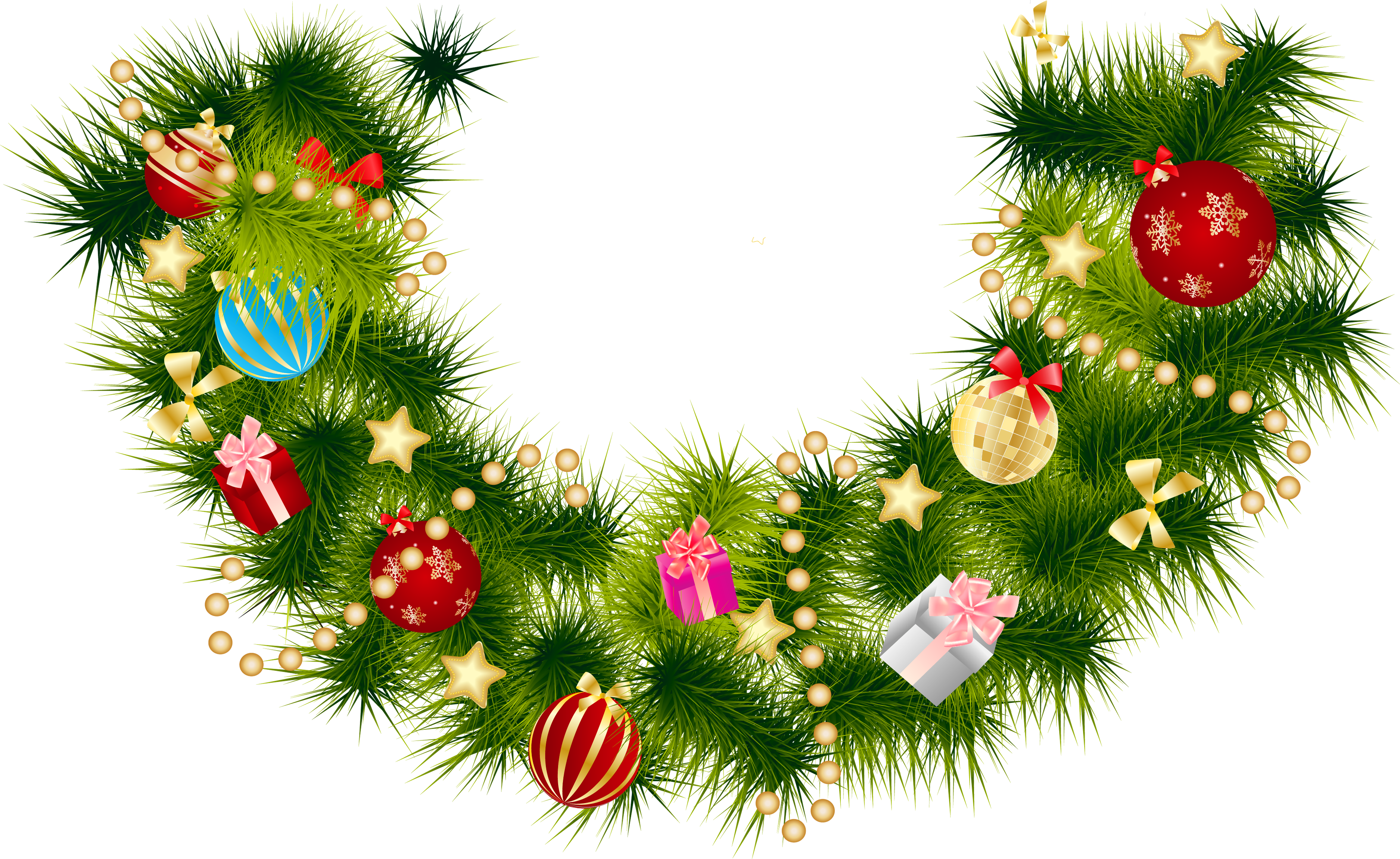 Vector hd christmas. Pine branch garland with