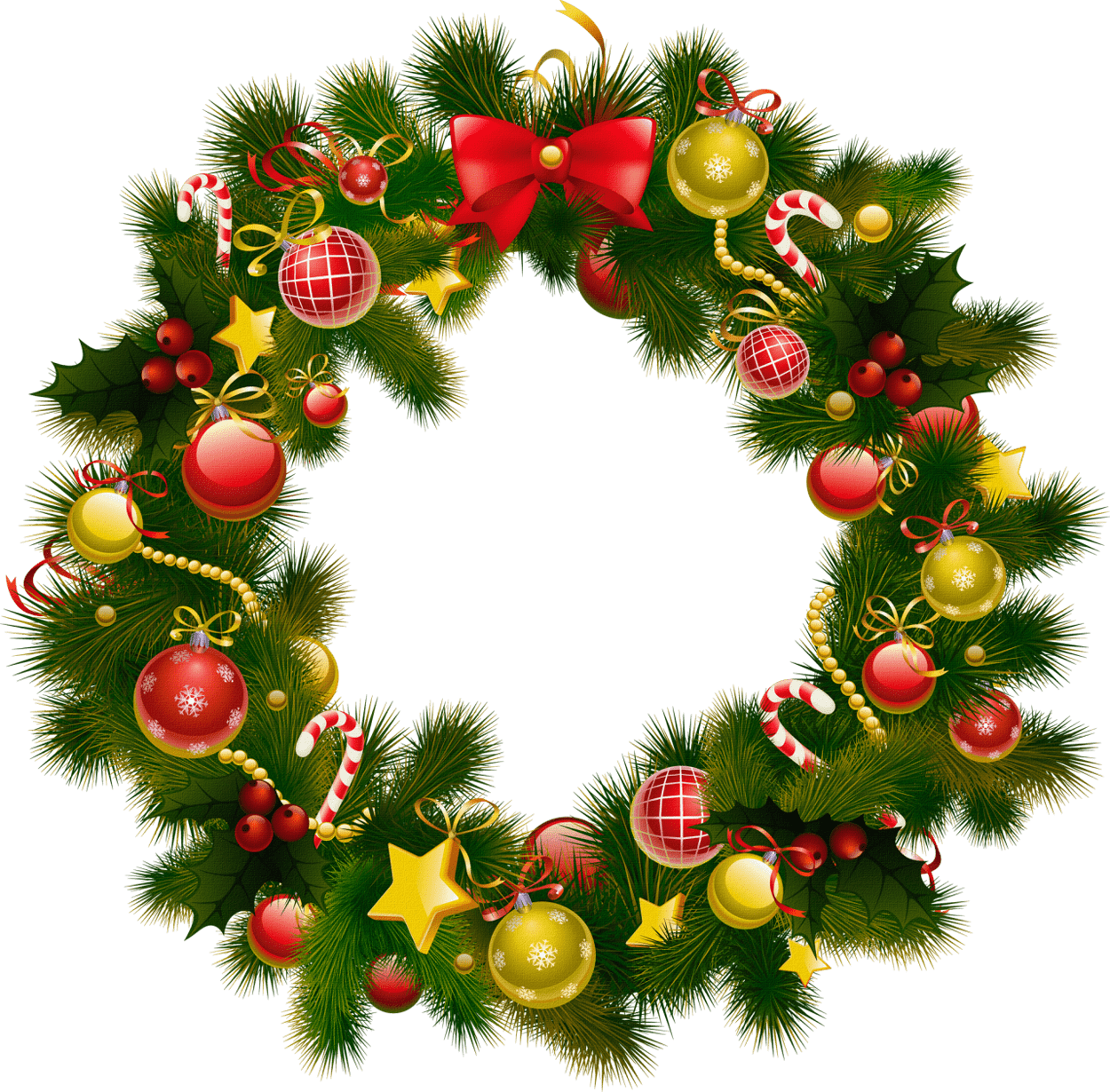 Christmas wreath png. Simple transparent stickpng