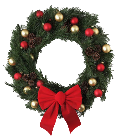 Christmas wreath png transparent. With red bow picture