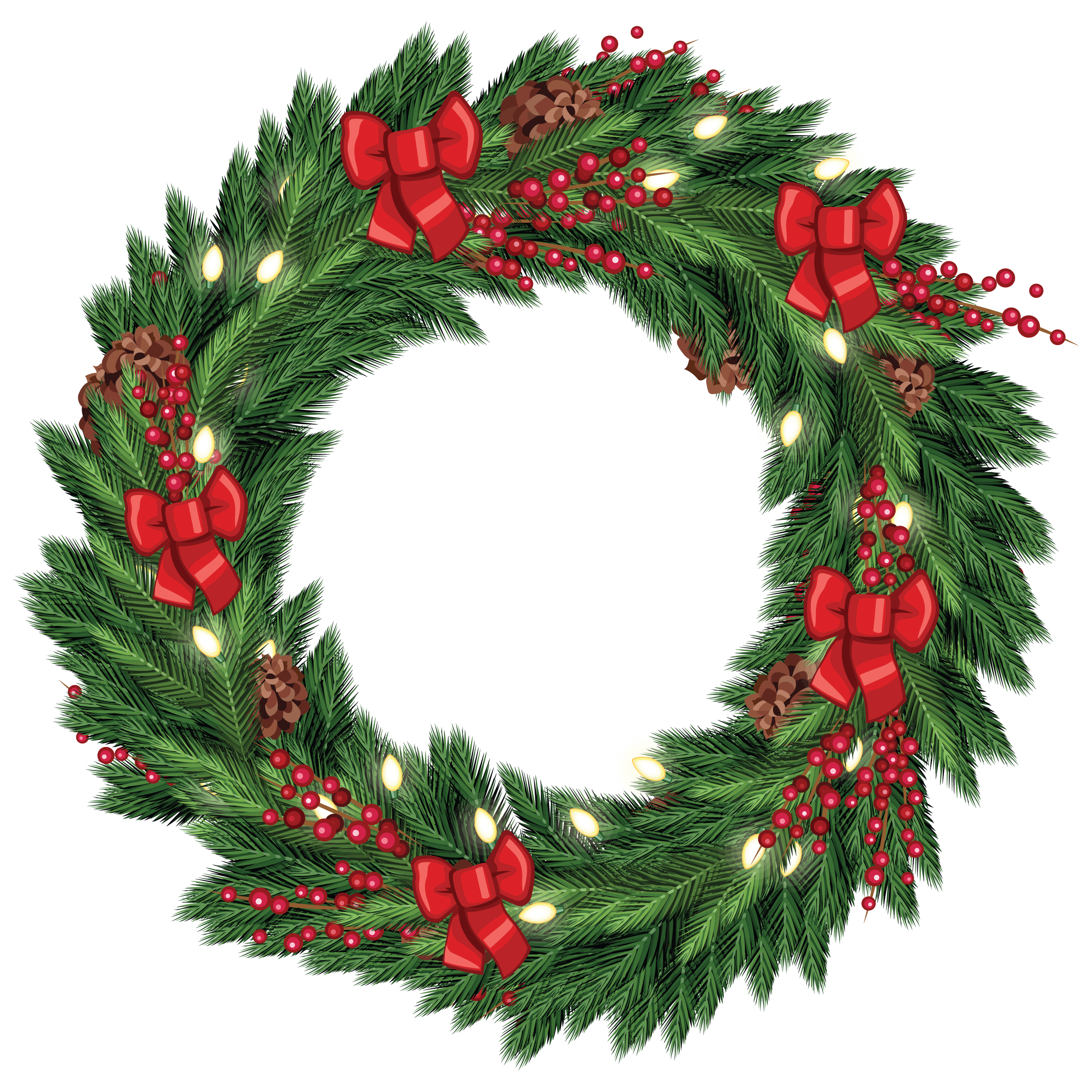 Lit garland png. Free christmas wreath graphic
