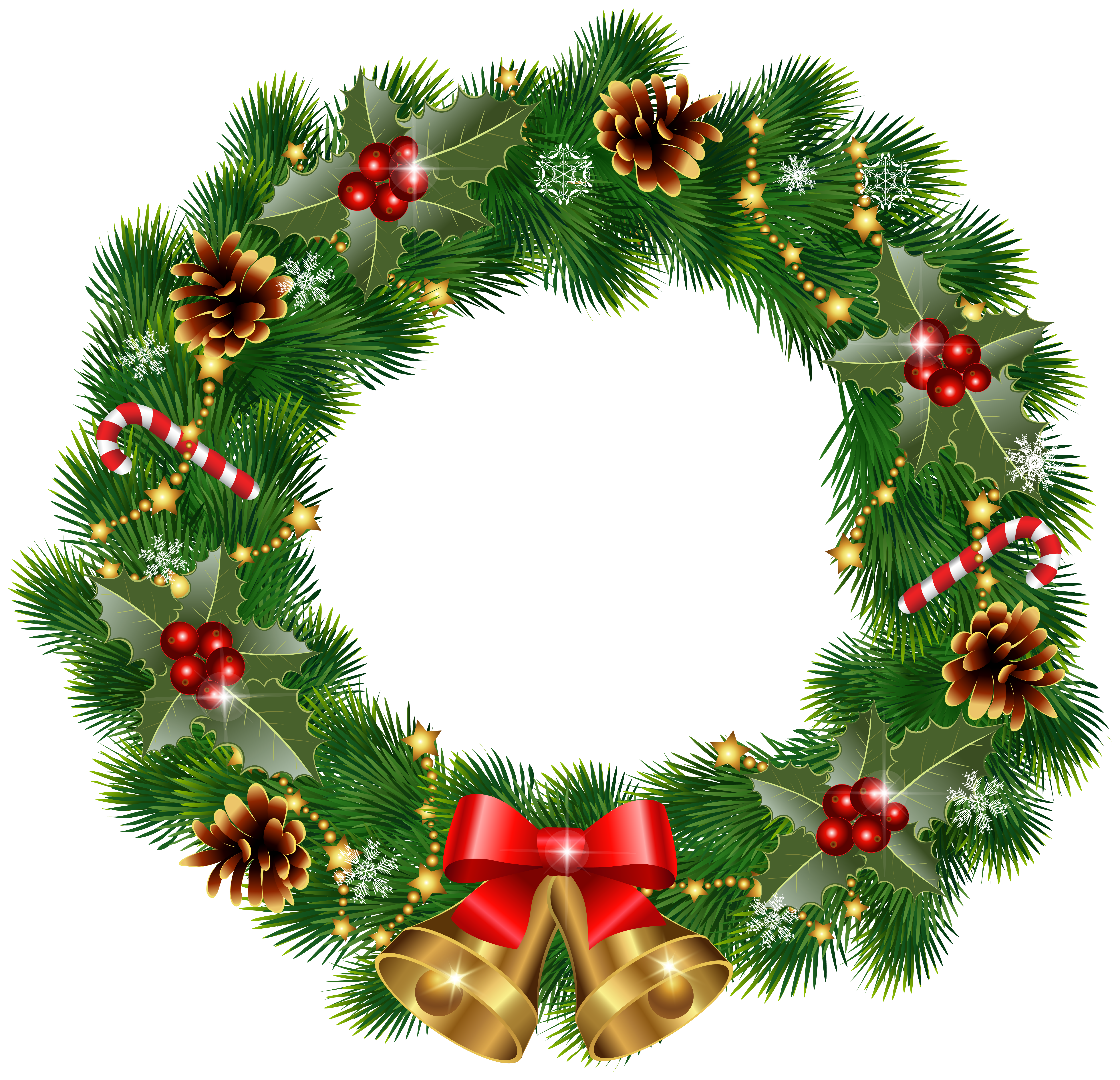Christmas wreaths png. Wreath with bells clipart
