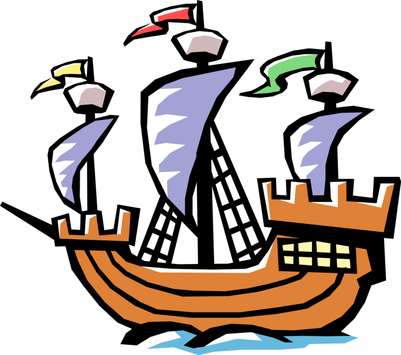 Christopher columbus clipart discovery. Ship of vector image