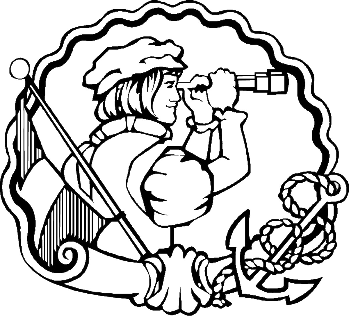 Christopher columbus clipart outline. Day drawing at getdrawings