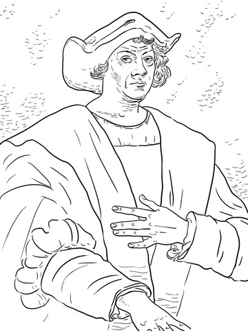 Christopher columbus clipart outline. Coloring page free printable
