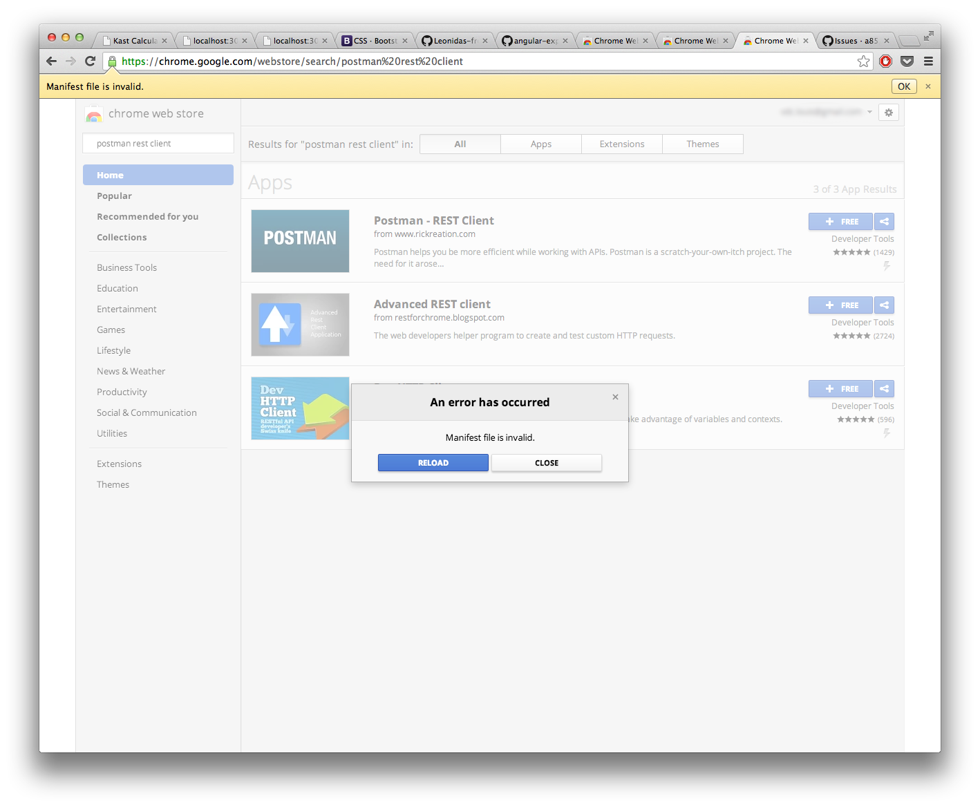 Chrome extension package is invalid png. Cannot install postman for