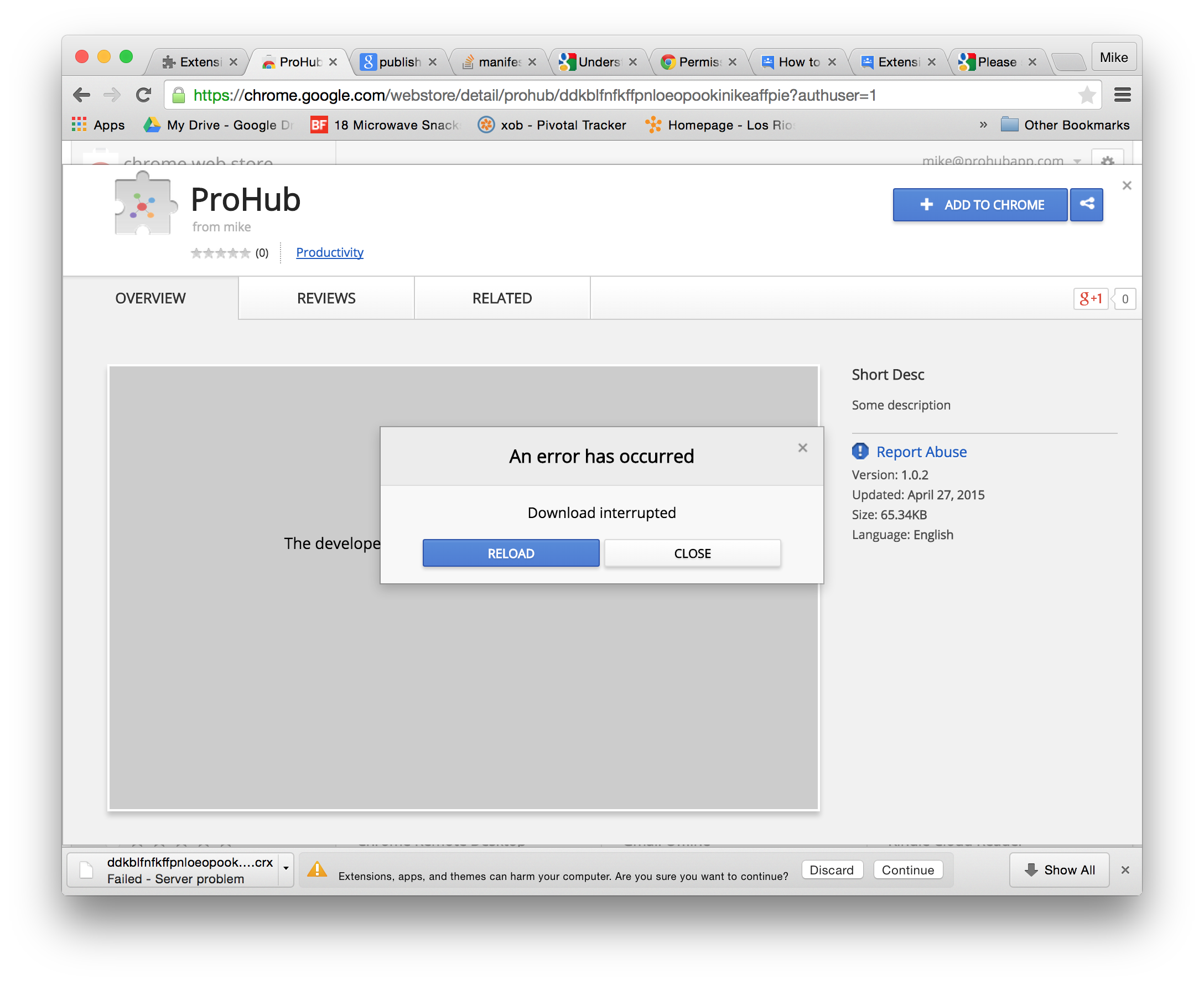 Chrome extension package is invalid png. Private testing download interupted
