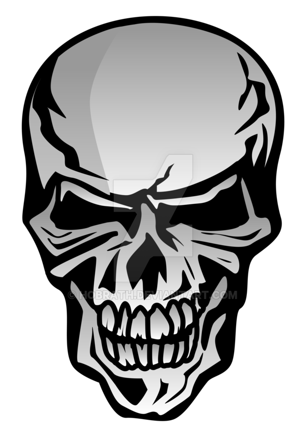Skull illustration by hobrath. Reflective drawing chrome clip art black and white stock