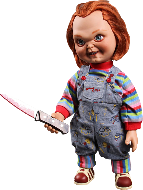 Chucky png toy. Talking sneering collectible figure